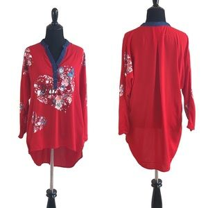Desigual red floral print 3/4 sleeve tunic